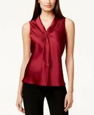 Tahari ASL Top Petite Sz PM Garnet Red Satin Necktie Sleeveless Career Blouse