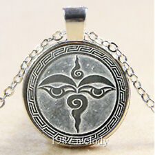 Photo Cabochon Glass Silver Chain Pendant Necklace (eyes of God)