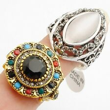 Wholesale 2Pcs/Lot Round Marquise Rhinestone (Silver)Gold Plated Rings Size 10