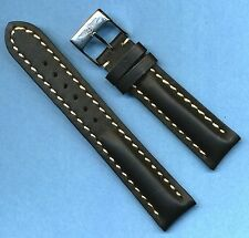 BREITLING BUCKLE AND 20mm GENUINE LEATHER STRAP BAND WHITE STITCHING PADDED