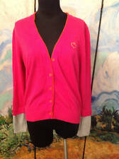VERA WANG L PINK V-NECK COLOR-BLOCK BUTTON DOWN LONG SLEEVE CARDIGAN SWEATER