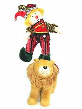 "STUFF CIRCUS CLOWN TRICK RIDING LION ARGENTINA 23"" TALL UNIQUE NEW"