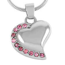 Stainless Steel Heart Cremation Pendant Urn Jewelry Holds Human/Pet Ashes Pink