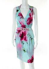 Bluemarine Cruise Aqua Pink Watercolor Floral Print Beaded Dress Italian Size 42