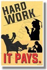 Hard Work - It Pays (Academics) - NEW School Classroom Motivational POSTER