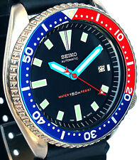 """Vintage SEIKO diver 7002 PEPSI mod w/Neon Blue BAYONET & RED """"Stealth"""" SS hands!"""