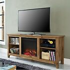 Walker Edison 58inch Barnwood TV Stand w/Fireplace Insert W58FP18BW TV stand NEW
