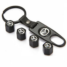 Black Wheel Tyre Tire Valve Dust Stems Air Caps + Keychain With Mazda Emblem