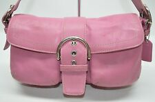 Coach Orchid Pink Leather Soho Buckle Flap Pockets Satchel Purse 3653