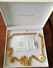 "100% AUTHENTIC $1395 VERSACE SIGNATURE MEDUSA COIN CHAIN NECKLACE 36"" Unisex"
