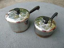 Vintage Lot of 2 REVERE WARE 1801 Copper Clad Pots with Lids