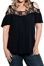Plus Size Clothing 3X Lace Yoke Cold Shoulder Peasant Top SEXY Blouse Shirt NEW