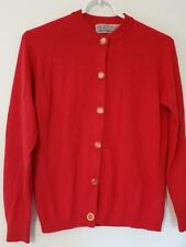Vtg 60s BALLANTYNE Red Cashmere Cardigan Sweater S M AS-IS