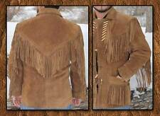 MENS WESTERN SUEDE LEATHER JACKET WITH FRINGE AND BONE WORK