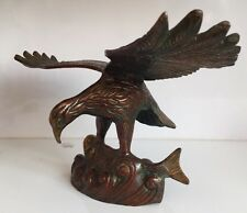 Antique 12.5'' Flying Eagle 2.5 Kg w/h Fish HEAVY Bird Prey Collectables Vintage
