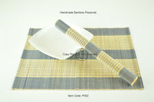 4 Tovagliette in bambù, fatto a mano Tavolo Stuoie, Blu-Panna (Marrone chiaro), p002