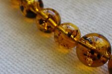 """Vintage Faux amber graduated bead necklace with """"insect"""" inclusions 30"""" FAB!"""