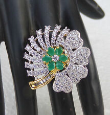 New Party Wear Diamante Jewelry Indian American Fashion Emerald Ring Adjustable