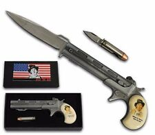 Spring Assisted Gun Style Knife w Bullet Folding Knife Giftbox BILLY THE KID