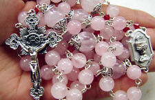 Pink Quartz Bead Rosary Cross necklace box Sterling Silver Father Beads catholic