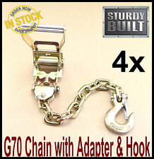 4x Chain Ratchet Strap Tie Down G70 Flatbed Tow Truck Hauler Car Carrier Wrecker