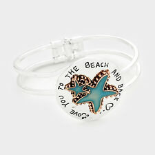 LOVE YOU TO THE BEACH AND BACK STARFISH SEA LIFE BRACELET SILVER FISH NAUTICAL