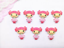 10PCS Cute Cartoon Girl Flatback Resin Applique Red