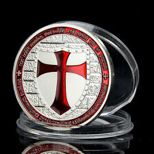 Masonic Knights Templar, Red Cross, Silver Plated coin, Token, Souvenir Iron Set