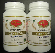 2 BOTTLES  CANADIAN GINSENG 5 YEARS OLD ROOTS NATURAL NO PRESERVATIVE SEALED