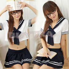 Sexy Japanese School Girl Sailor Uniform Maid Striped Cosplay Costume TSUS