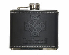 Ireland Hip Flask Celtic Cross Design on Leather Look Cover Stainless Steel 4oz