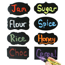 2016 8x Multi Shape Small Chalk Black Board Mason Jar Labels Stickers Chalkboard