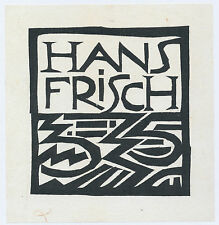 Woodcut bookplate exlibris by German Expressionist KARL SCHMIDT-ROTTLUFF 1912