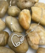 Heart Love Pendant Necklace Sterling Silver Chrystal Love Heart Chain Necklace