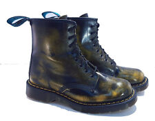 Solovair Dr. Martens Doc England Yellow Black Rub-off Boots UK 6 US 8