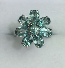 14k Solid White Gold Flower Cluster Ring Natural Blue Zircon 4.5TCW, Sz 7.75