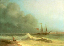 Nice Oil painting Ivan Constantinovich Aivazovsky - Sea before storm with ship