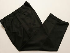 George Mens Dress Pants 46x30 Heather Charcoal Pleats Cuffs & Expandable Waist