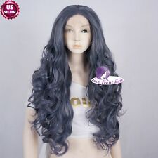 "Wavy 26"" Fashion Black Mixed Light  Blue Long  Women Lace Front Hair Wig+Cap"