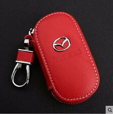 Red Genuine Leather cowhide Car Key Holder Keychain Ring Case Bag For Mazda