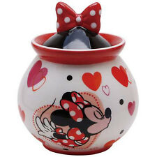 New DISNEY MINNIE MOUSE Coffee Tea Sugar Jar KISS RED LOVE HEART Figure White
