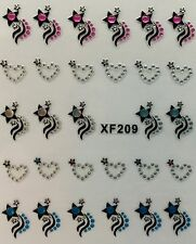 Nail Art 3D Decal Stickers Rhinestone Stars & Hearts XF209
