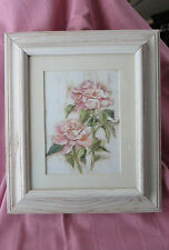 Pink Mauve Rose Matted Floral Print White Washed Thick Heavy Wood Frame Picture
