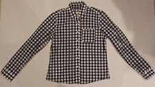 Womens HOLLISTER Blue White Button Up Front Shirt SIZE Medium M Long Sleeve