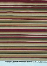 Home Decor Upholstery Fabric Stripes in Fall Color Green, Olive, Burgundy, Tan