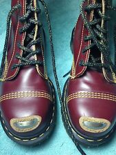 VTG England Dr Doc Martens Cherry Red Leather Exposed Steel Toe Skinhead UK 5