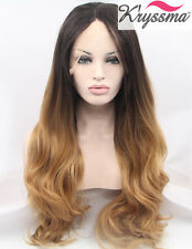 """Best Synthetic Hair Wig Ombre Brown Long Wavy Lace Front Wigs Heat Resistant 24"""""""