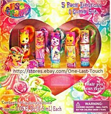 LISA FRANK 6pc Lip Gloss & Comb Set COMBABLE HAIR Berry+Orange+Raspberry+MORE