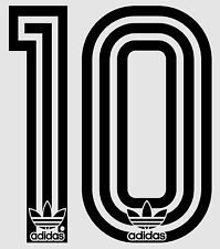 1980's Retro Adidas no 10 Football Name set  for National shirt black or white