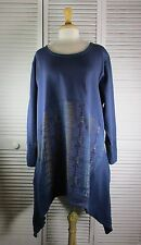 Crescent Fleece Tunic  2X Navy w/ Primitivism Art by Blue Fish Red Moon Clothing